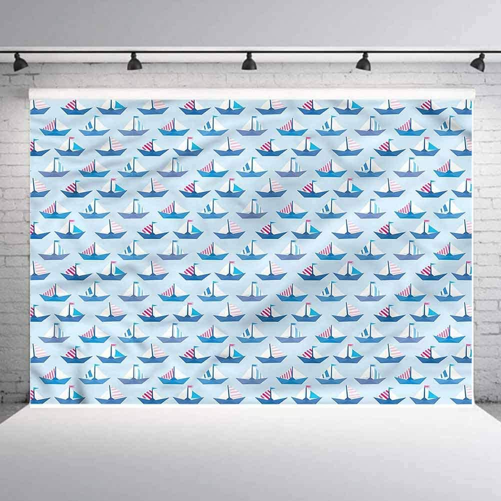 5x5FT Vinyl Photo Backdrops,Sail Boat,Paper Ship Geometrical Background Newborn Birthday Party Banner Photo Shoot Booth