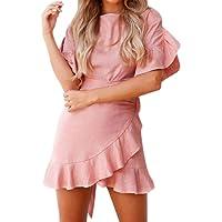 LILICAT® 2018 Moda Verano Casual Playa Vestido Sólido, Volante de Manga Corta Mini Vestido Vestido Gratis con Pajarita, Cóctel de Noche Elegante Mini Vestido