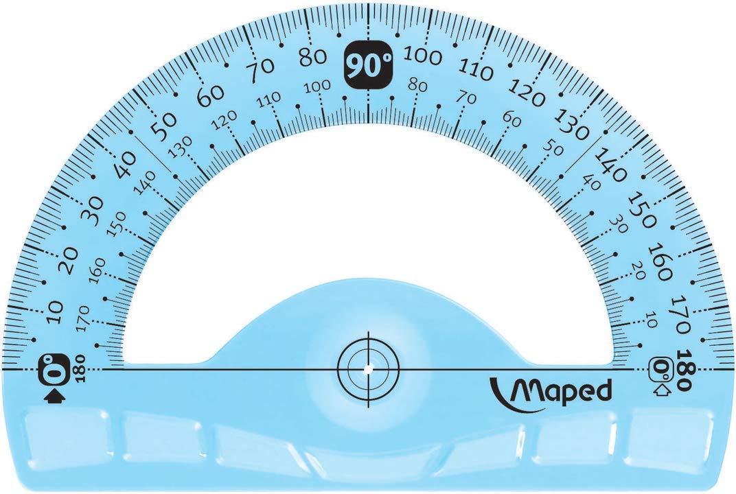 1 squadra 45/°//21 cm e 1 goniometro 180/°//12 cm Maped 4 pezzi comprende: 1 righello 30 cm Kit di tracciatura infrangibile 1 squadra 60/°//21 cm
