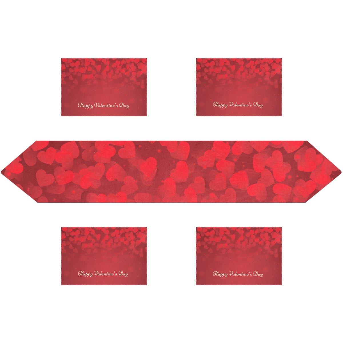 Happy Valentine 's Day長方形テーブルランナー13 x 70インチwithプレースマットテーブルマット12 x 18インチの4のセット、結婚式、パーティー、ディナー、夏&ピクニックの国アウトドアホーム装飾、 13x70(in) & 12x18x4(in) ホワイト g2463765p172c202s295 13x70(in) & 12x18x4(in)  B0792RXCV6
