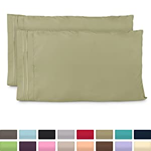 Cosy House Collection Pillowcases Standard Size - Sage Green Luxury Pillow Case Set of 2 - Fits Queen Size Pillows - Premium Super Soft Hotel Quality - Cool & Wrinkle Free - Hypoallergenic