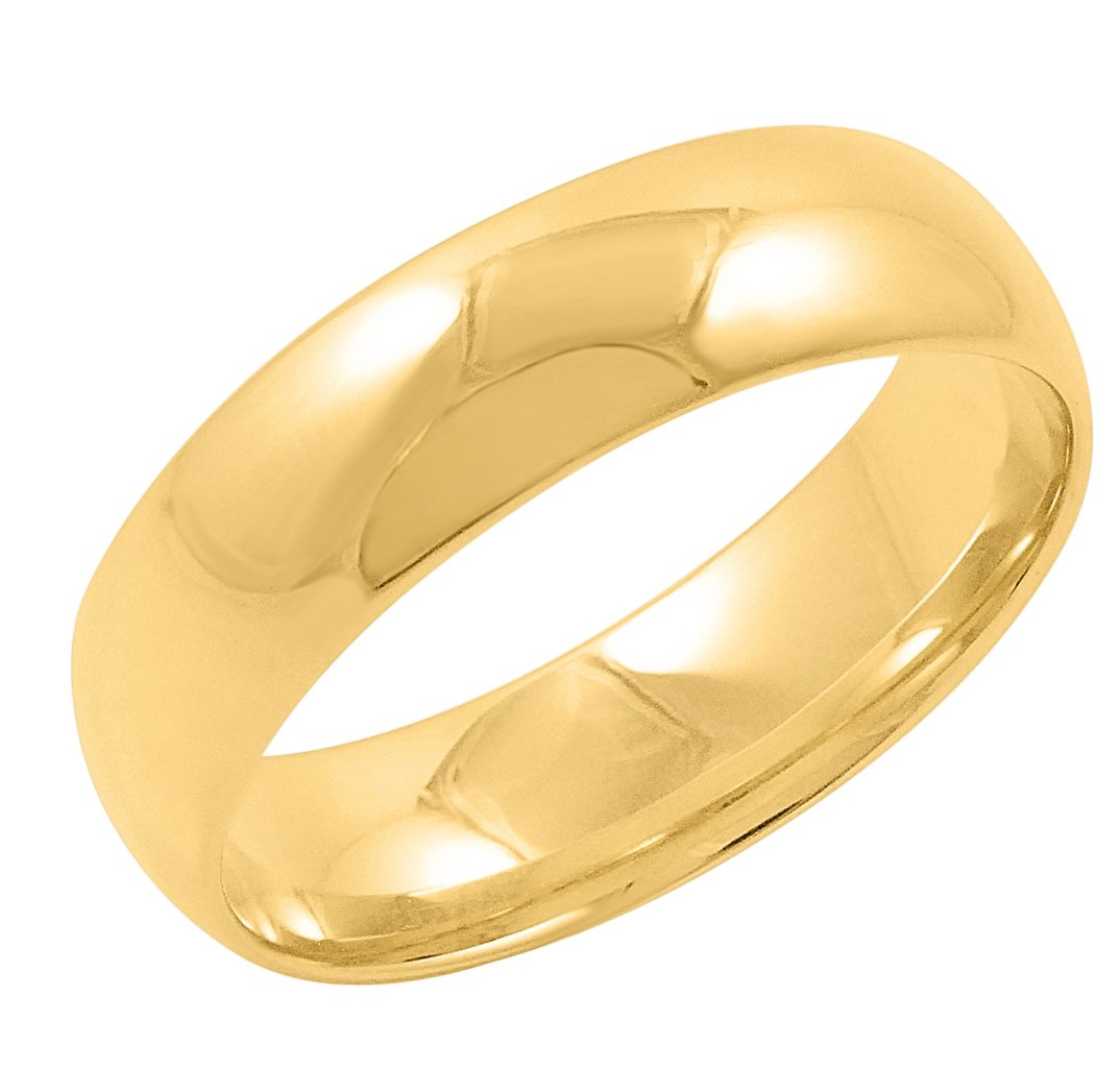Men's 14K Yellow Gold 6mm Comfort Fit Plain Wedding Band (Available Ring Sizes 8-12 1/2) Size 10