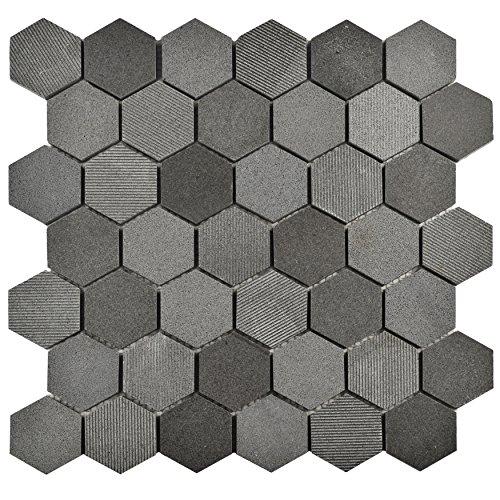 SomerTile FSHSDHBL Egitura Due Hex Lava Volcanic Stone Mosaic Floor and Wall Tile, 11.75