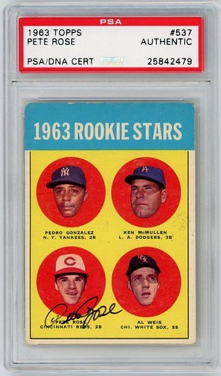 Amazoncom Pete Rose 1963 Topps Baseball Autograph Auto