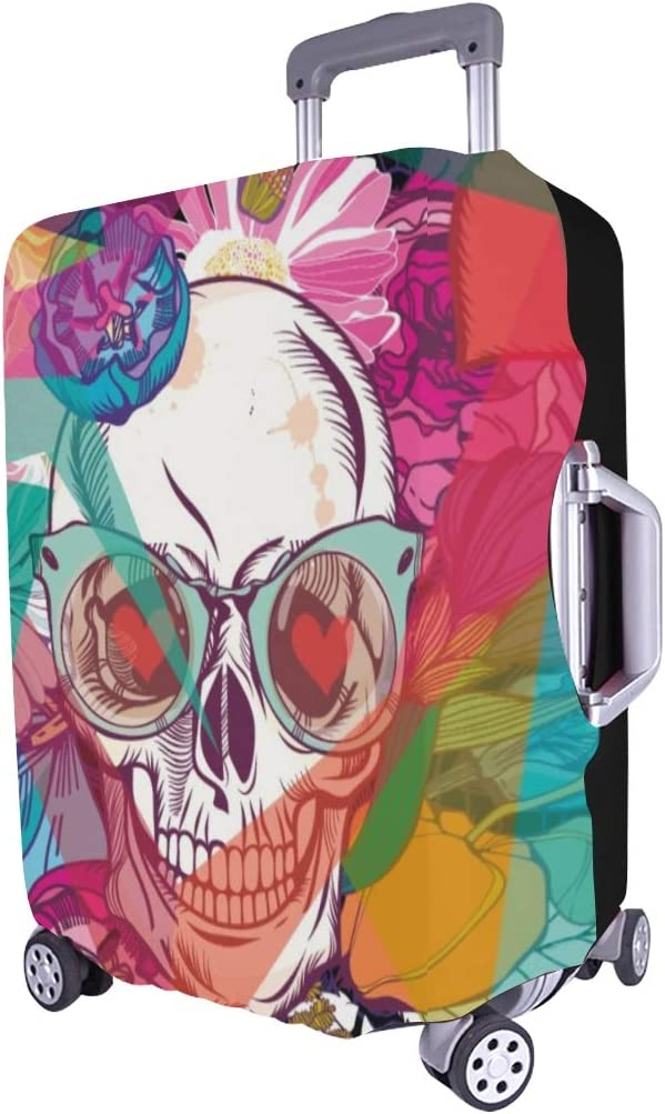 Skull Flowers Day Dead Spandex Trolley Case Travel Luggage Protector Suitcase Cover 28.5 X 20.5 Inch