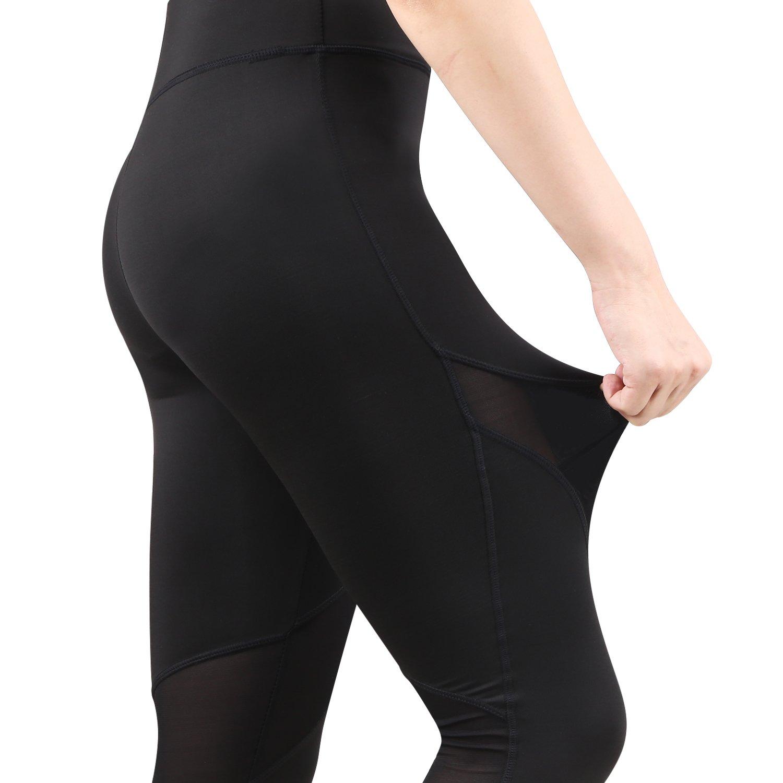 RoxZoom Activewear Asciugatura Rapida Calzamaglia in Corsa con Pannelli in Mesh Pantaloni Sport Allenamento da Donna Taglia L Nero