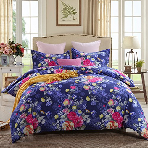 GOOFUN-J4K 3pcs Duvet Cover Set/Bedding Set(1 Duvet Cover and 2 Pillow Shams) Lightweight Microfiber-Comfortable, Breathable, Soft,Extremely Durable,King Size, Navy Blue with Colorful Flower Pattern (Set Tropical Duvet)