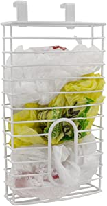 Home Basics over the Cabinet Plastic Bag Organizer and Grocery Bag Holder, White