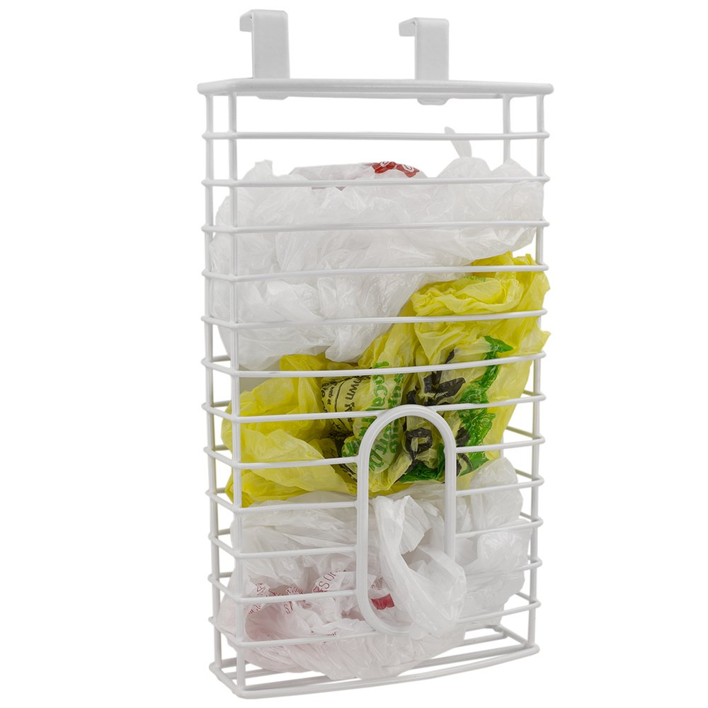 Home Basics over the Cabinet Plastic Bag Organizer and Grocery Bag Holder, White SC41287