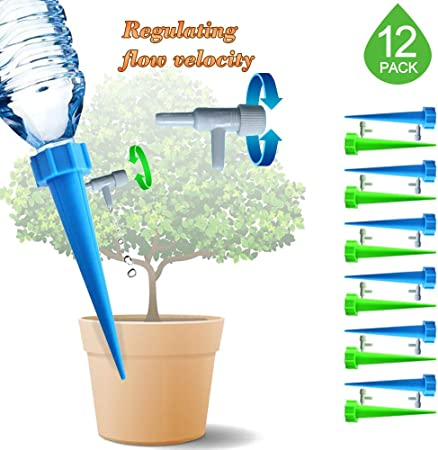 Plant Waterer with Control Valve Switch Plant Self Watering Spikes Automatic Vacation Drip Watering Bulbs Globes Stakes System for Indoor Outdoor Plants 12 Pack Plant Watering Device