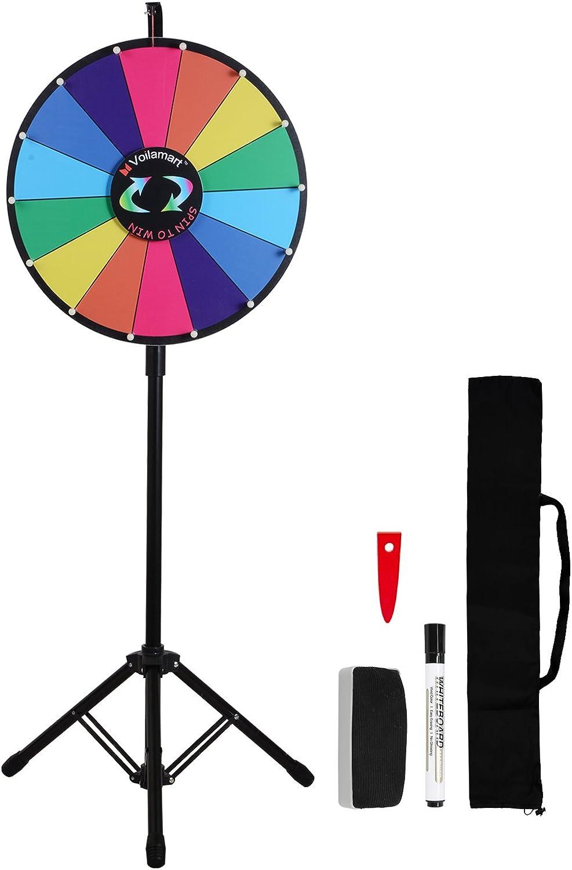 Voilamart - Ruleta de la suerte de 45,7 cm con trípode, plegable, 14 divisiones con color, borrado en seco, juego giratorio de azar.: Amazon.es: Deportes y aire libre