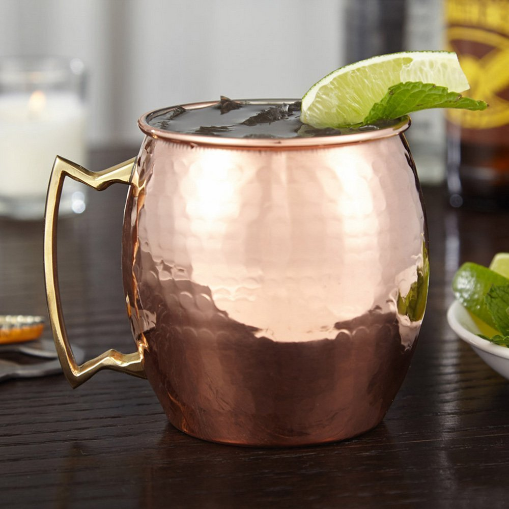 RV Hammered Copper Moscow Mule Mug with Brass Handle, 18oz, Pack of 8