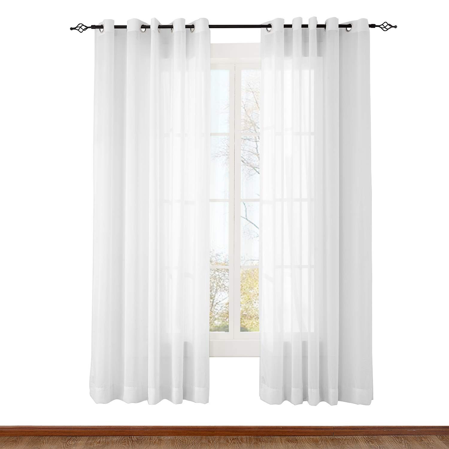 ChadMade Indoor Outdoor Solid Sheer Curtain Nickel Grommet White 84'' W X 84'' L Wide Opulent Voile Drapes (1 Panel)
