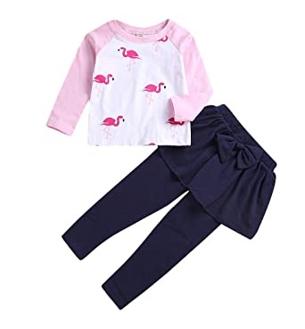 22a1ab9f8 Younger star Baby Girls Kids 2Pcs Long Sleeve Flamingo Clothes Pants Gifts  Outfits Set (Pink