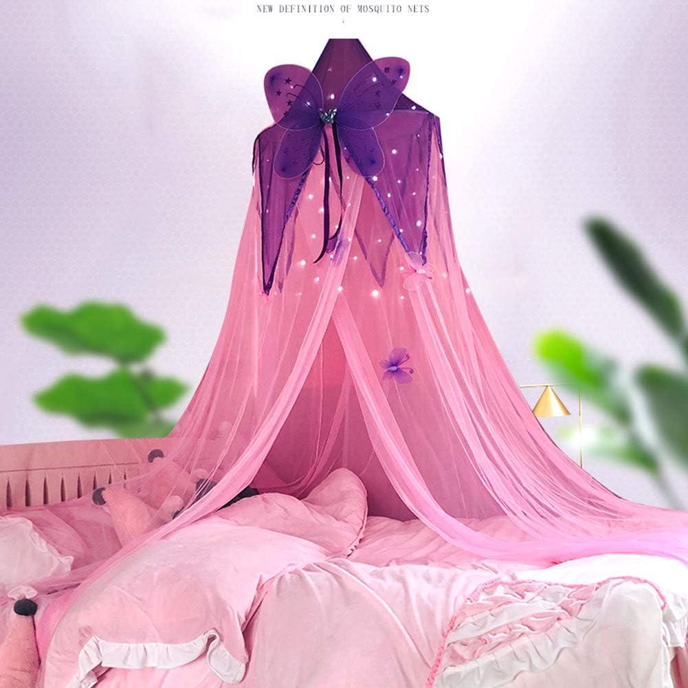 rundes Kuppel-Moskitonetz Princess Bed Play Zelt mit Butterfly Raumdekoration f/ür Baby M/ädchen Kinder Betthimmel f/ür Kinder Insektennetz Rosa Pink