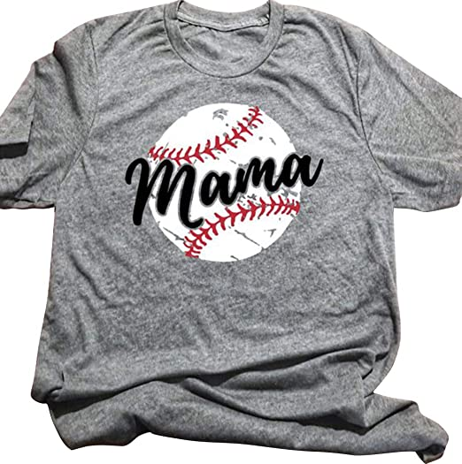 ac21c02f Amazon.com: Women Baseball Mom Mama T Shirt Top Short Sleeve Letter Print  Casual Graphic Print Shirt: Clothing