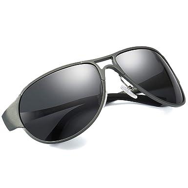 LVIOE Gafas de Sol Hombre Polarizadas Clásico Al-Mg Aleación 100% UVA & UVB Protección de Conducción Pesca