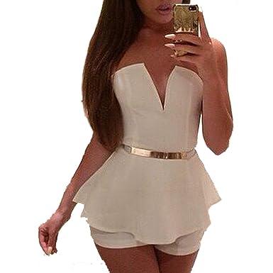Amazon.com  Leezeshaw Women s Sexy Deep V Neck Strapless Falbala Jumpsuit  Playsuit Dress  Clothing 4990cd1eb
