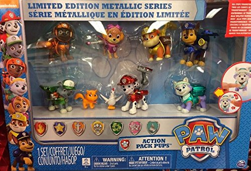 Paw Patrol Limited Edition Action Pack Pup Metallic Series 9 Figure Set by Spin Master