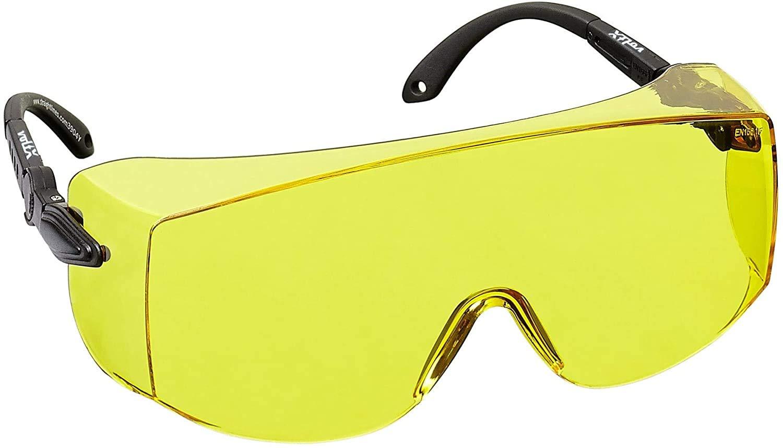 voltX 'OVERSPECS' Sobremontura para Gafas de Seguridad Industrial (Lentes Amarillo) con certificación CE EN166F, ajuste de sien individual, antivaho, resistentes a los arañazos, con protección UV400 /