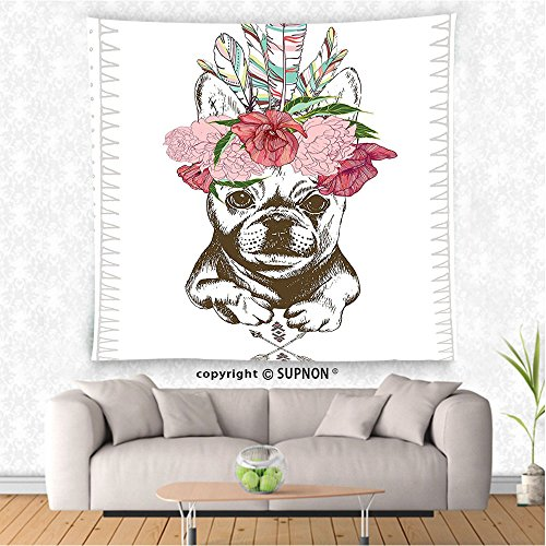 VROSELV custom tapestry Animal Tapestry Pug Dog with Tribal Ethnic Feathers with Spring Flowers Roses Buds Image Wall Hanging for Bedroom Living Room DormLight Pink and - Street 7 York Spring New