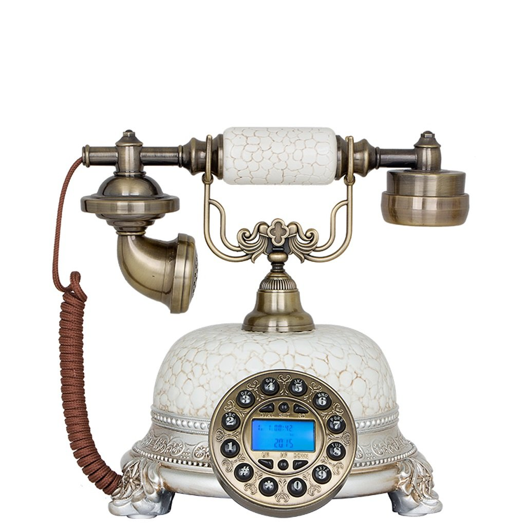 LCM Wired Telephone Ceramic High - End Office Telephone Home Desktop Retro Set (White,Resin, 252026CM) by LCM