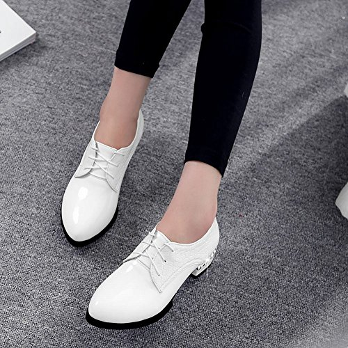 Leather Women's Low Up Western Charm Patent Lace Shoes Foot White Heel Oxford OIwWxpOqX5