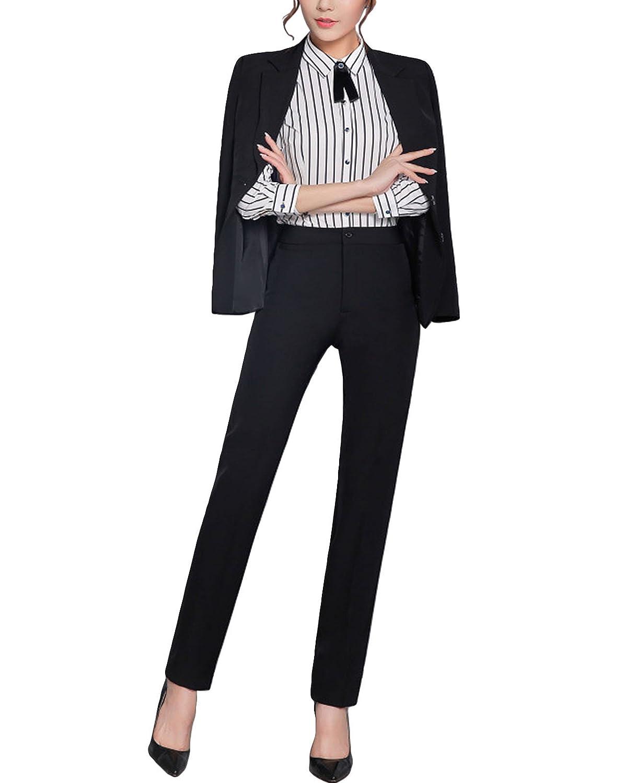 MFrannie Womens Office Lady 2 Button Notched Lapels Jacket and Pant Suit Set