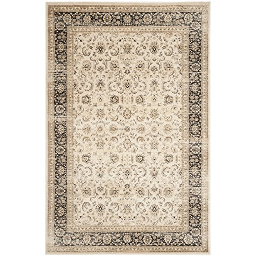 picture of Safavieh Vintage Collection VTG571J Ivory and Black Area Rug, 6-Feet 7-Inch by 9-Feet 2-Inch