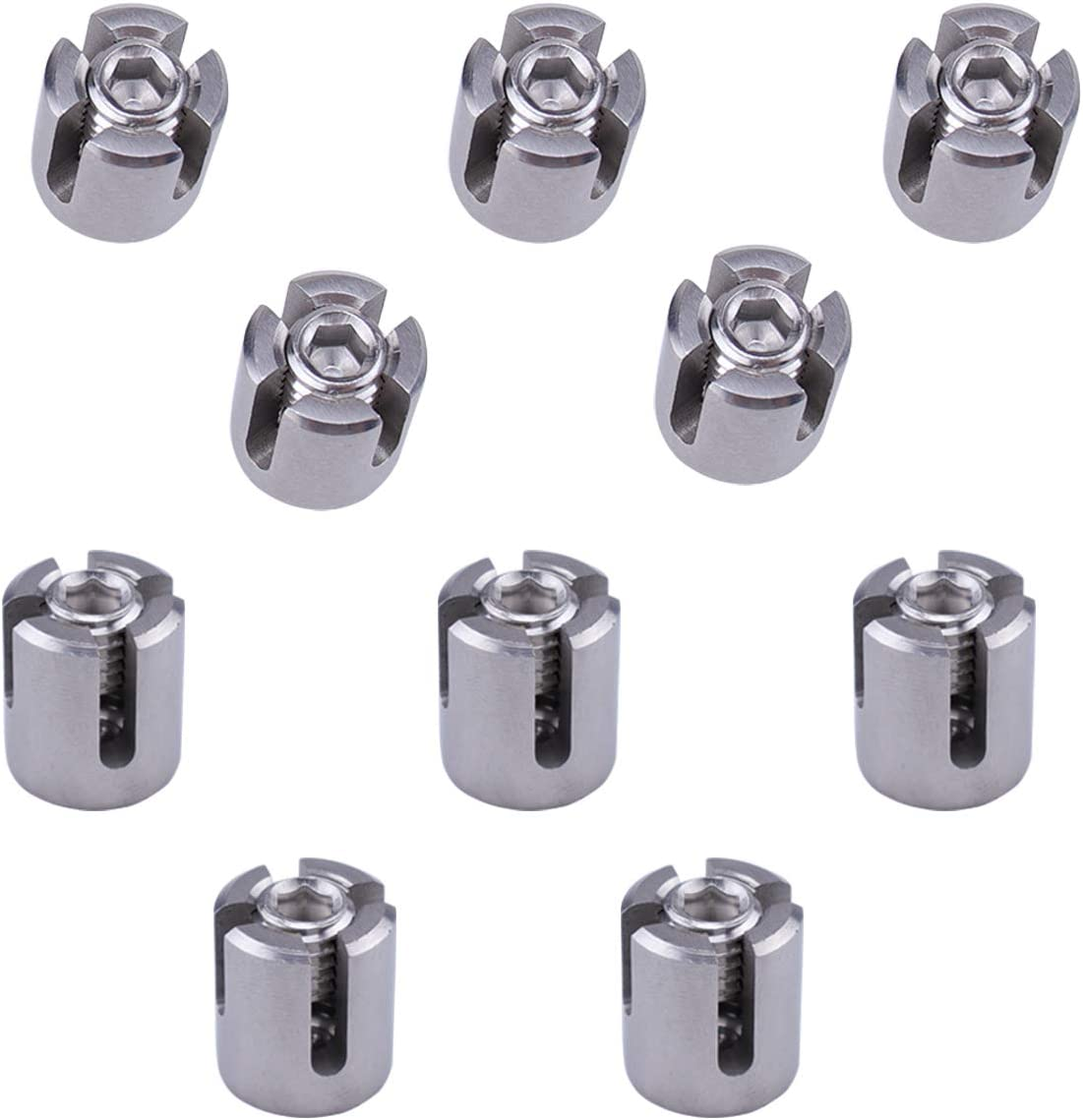 Muzata Cable Railing Cross Cable Clamps for 1//8 Wire Rope Clips Fitting for Wall Trellis System,Stainless Steel T316 Marine Grade 10PACK