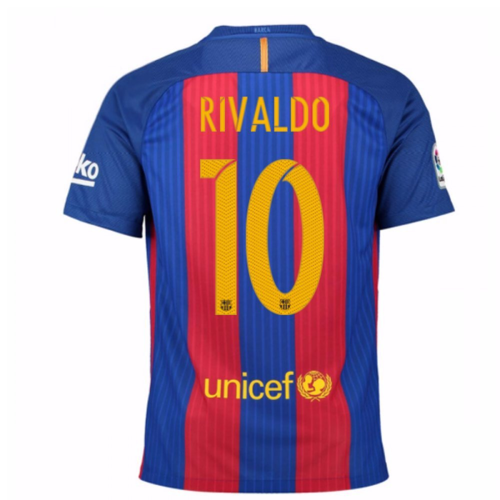 2016-17 Barcelona Home Football Soccer T-Shirt Trikot (Rivaldo 10) - Kids