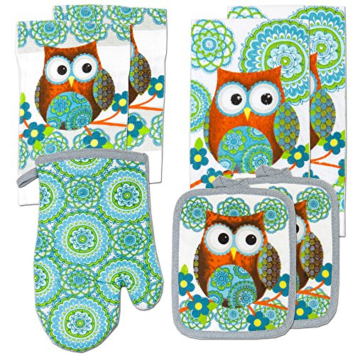 Kitchen Towel Linen Set of 7 Pieces Owl Design Turquoise Blue & Green Modern | 2 Kitchen Towels 2 Potholders, 1 Oven Mitt and 2 Dishcloth (Turquoise)