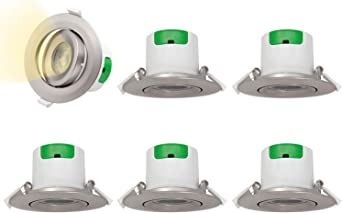 2,5 Inch Luces Plafones Focos Downlight Empotrable en Techo de LED Angular Plástico Níquel 7W Luz Calida 3000K Agujero del Techo Diámetro 70-75MM AC100~240V Pack de 6 de Enuotek: Amazon.es: Iluminación