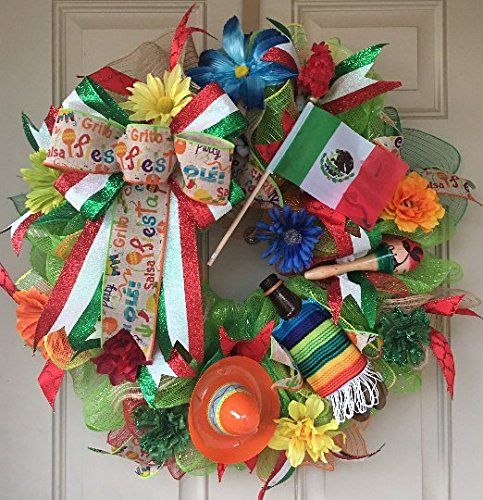 Mexican Decor Wreath with Beer dressed with a Mexican Poncho, Mexican Flag, Sombrero, Maraca and Colorful Flowers