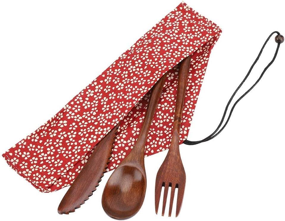 Vobor Juego de Cubiertos de Madera Reutilizable: Estilo japonés Juego de Cuchillos, Tenedores y cucharas de Madera con Bolsa de Almacenamiento Juego ...