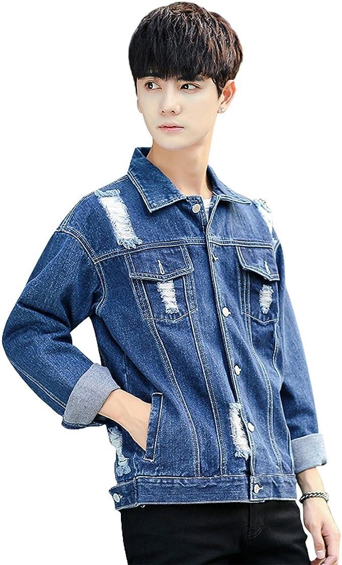 デニムジャケット コート ダメージ加工 メンズ 細身 ジャケット ジージャン デニム ブルー/ライトブルー S/M/L/XL