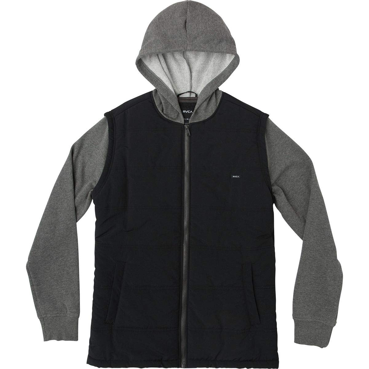 RVCA Boys' Big' Logan Puffer Hooded Jacket, Smokey