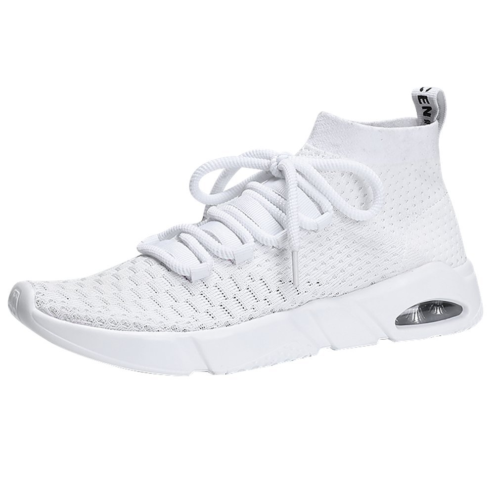 Men's Running Casual Sport Shoes Slip-on Lightweight Breathable Fashion Sneakers Walking Shoes ELPRS1806-White43