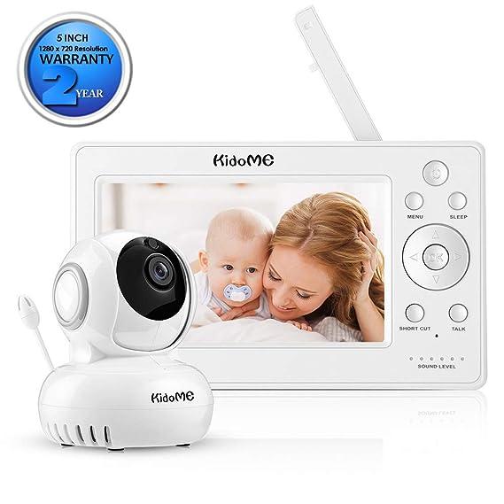"""KidoMe 1280 x 720P Vigilabebé Vídeo Inalambrico Cámara Vigilancia con Pantalla Digital LCD a Color de 5"""" Bebé Monitor Inteligente Audio Bidireccional ..."""