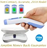 Amplim FDA CE Approved Medical Hospital Grade Non Contact Infrared Forehead Thermometer + Case. Best for Baby/Kid/Infant/Toddler/Child/Adult/Professional/Clinical Digital Fever Temperature. New 2018