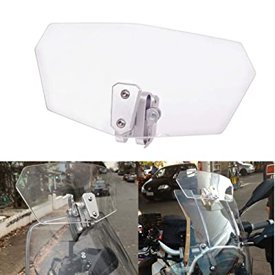 Goldfire Universal Motorcycle Windshield Airflow Adjustable Windscreen Wind Deflector for Kawasaki BMW Benelli KTM Triumph (Color: Clear): Automotive