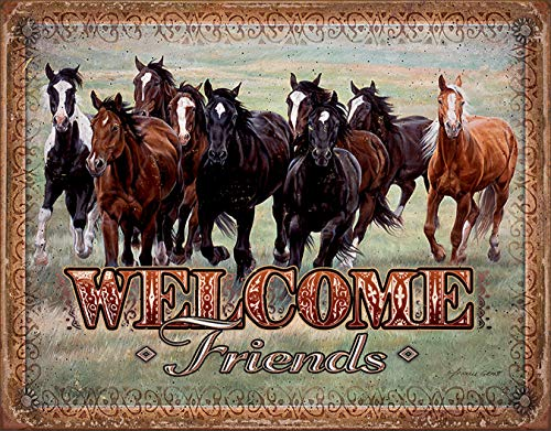 Sign Horses Behind - Desperate Enterprises Welcome Friends - Horses Tin Sign, 12.5