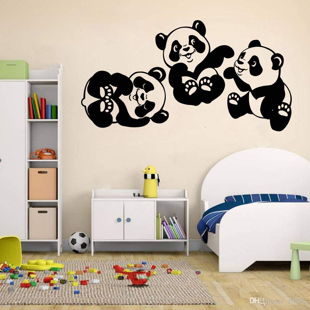 Panda Wall Decals Room Décor - Panda Bamboo Wall Art Vinyl Stickers - Panda Decorations Pictures for Girls Room Home Bedroom Kids Nursery Room - Animals Wildlife Forest Safari Jungle Savannah PA003
