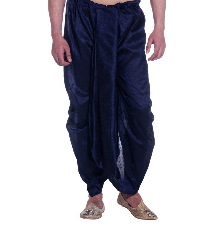 Royal Kurta Men's Art Silk Fine Quality Ready To Wear Dhoti pants Free Size Blue