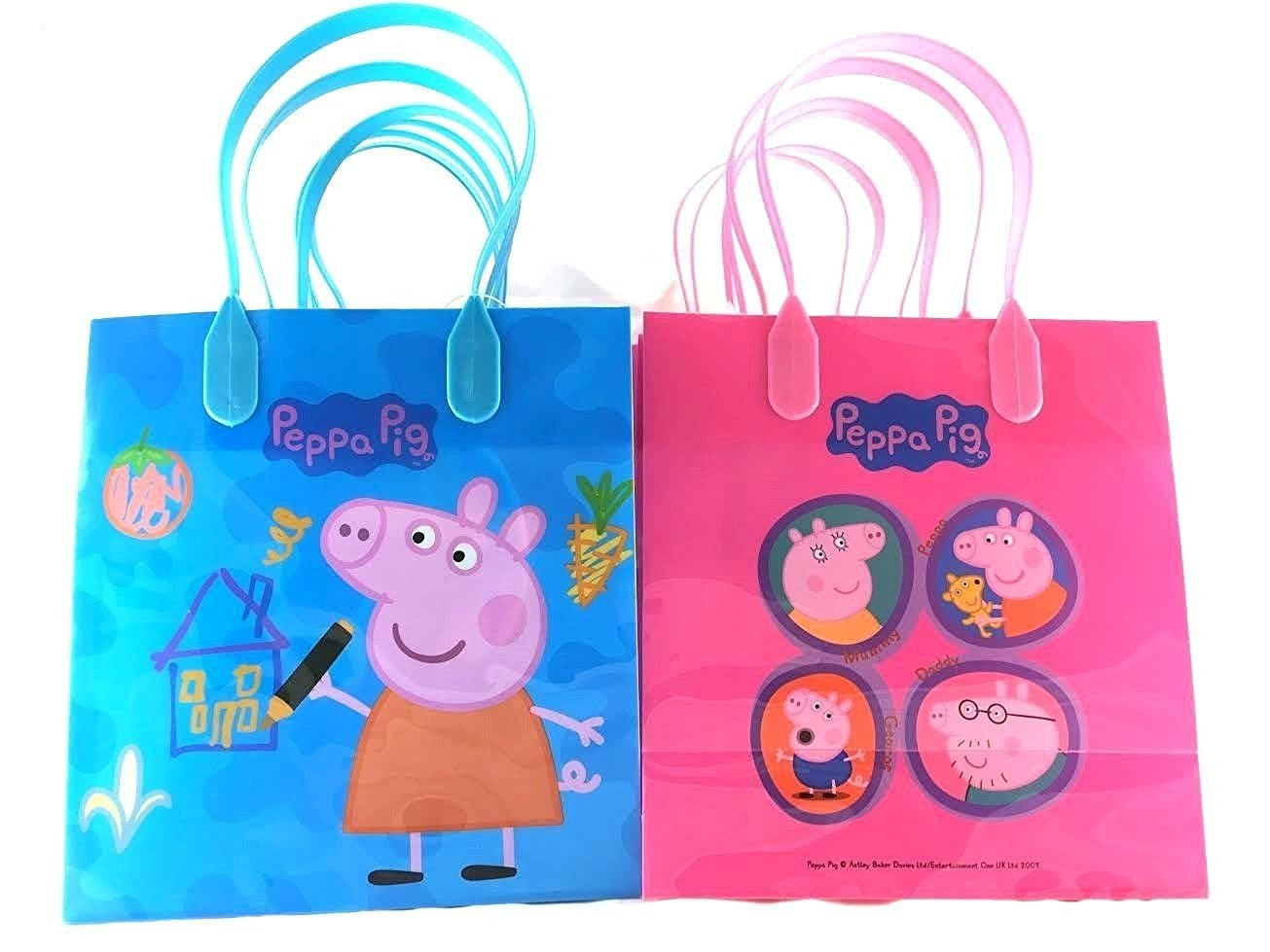 Peppa Pig Party Favor Goody Tote Candy Bag Great Child Birthday Gift, 12 Piece