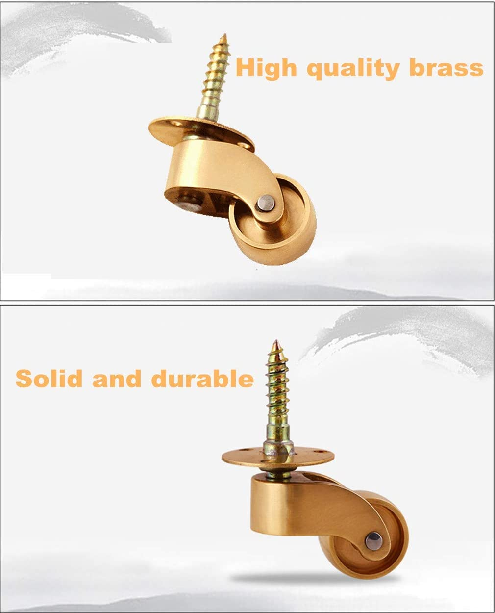 4pcs Pure Brass Swivel Stem Caster Wheels,Furniture Castor,Load Capacity 100kg,Wheel Diameter 22mm,with Threaded Rod,Suitable for Piano Feet,Sofas,Tables,Movable Cabinet