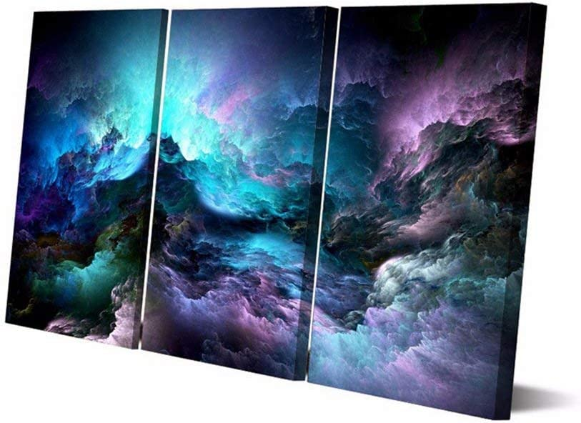 Home Decor Framed 3 Panel Painting on Canvas Wall Art Posters and Prints Landscape Pictures For Living Room Office Modern Abstract Psychedelic Nebula Space Artwork Stretched (40''H x 60''W)