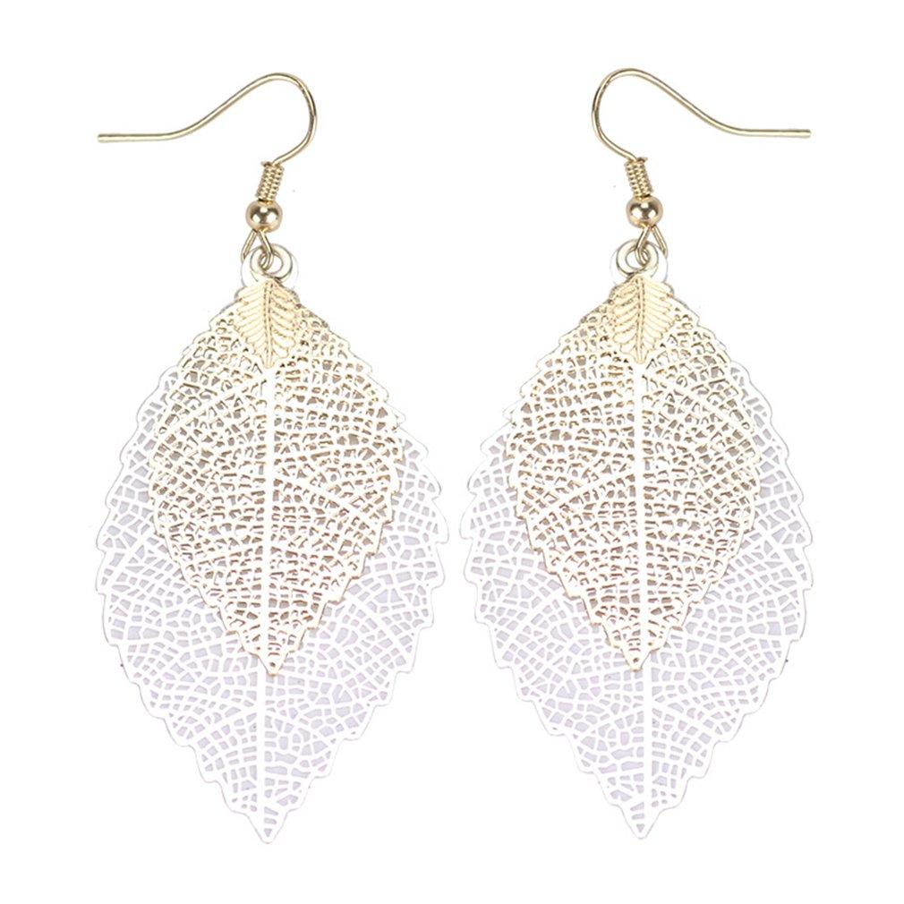 Meolin Colorful Leaf Earrings Bohemian Long Earings Hollow Colorful Leaf Pendant Drop Hook Earrings Jewelry,Gold + Silver,73cm