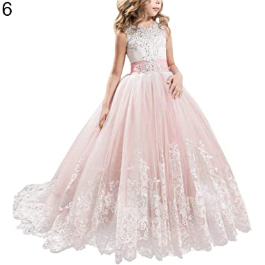 Amazon Com Cute Girl Princess Dress Lace Trailing Gown For Kids
