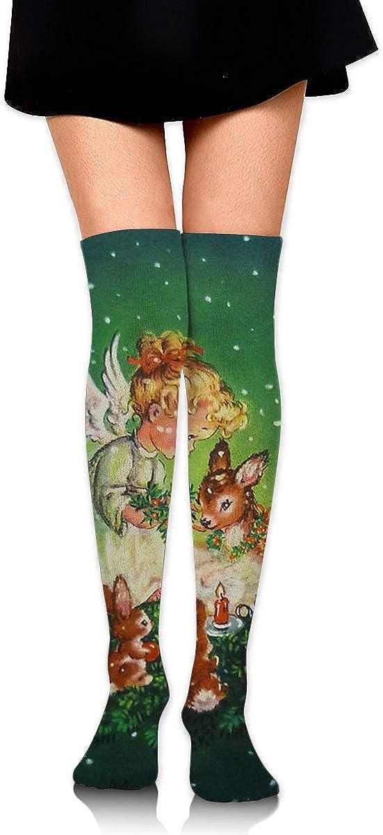 High Elasticity Girl Cotton Knee High Socks Uniform Christmas Angels With Rabits Women Tube Socks